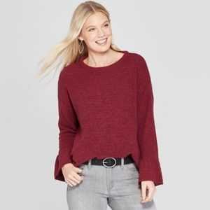 Knox Rose | Long Bell Sleeve Crew Pullover Sweater